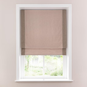 Textured Natural Weave Border Lined Roman Blind