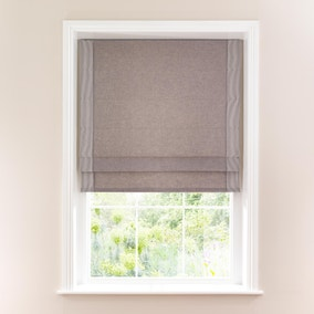 Ticking Grey Stripe Border Lined Roman Blind