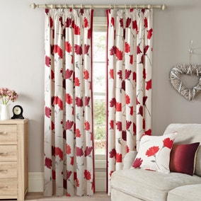 Aimee Red Lined Pencil Pleat Curtains