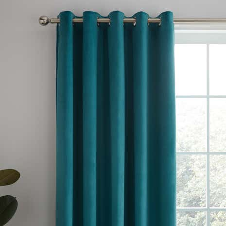 Ashford Teal Lined Eyelet Curtains Dunelm