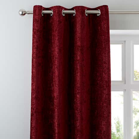 Chenille Wine Lined Eyelet Curtains