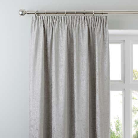 Chenille Silver Lined Pencil Pleat Curtains