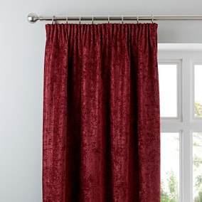 Chenille Wine Lined Pencil Pleat Curtains