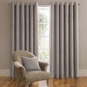 Dorma Lymington Grey Lined Eyelet Curtains