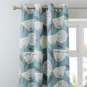 Emmott Teal Lined Eyelet Curtains