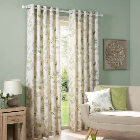 Ezra Green Lined Eyelet Curtains