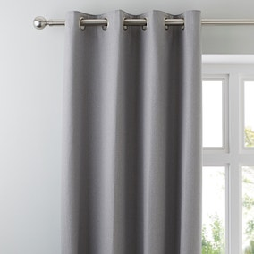 Hayden Grey Lined Eyelet Curtains