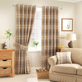 Highland Check Ochre Lined Eyelet Curtains