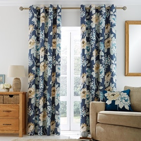 Imogen Blue Lined Eyelet Curtains