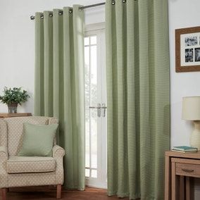 Kendall Green Lined Eyelet Curtains