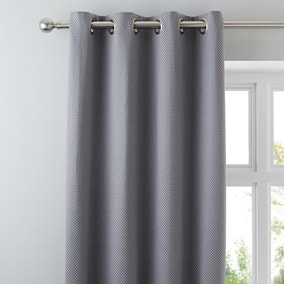 Kendall Grey Lined Eyelet Curtains