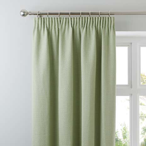 Kendall Green Lined Pencil Pleat Curtains