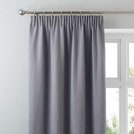 Kendall Grey Lined Pencil Pleat Curtains