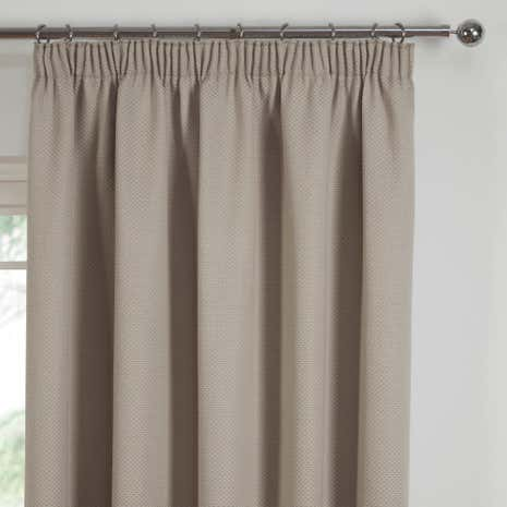 Kendall Natural Lined Pencil Pleat Curtains