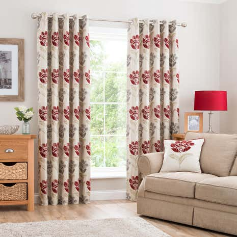 Lucy Claret Lined Eyelet Curtains