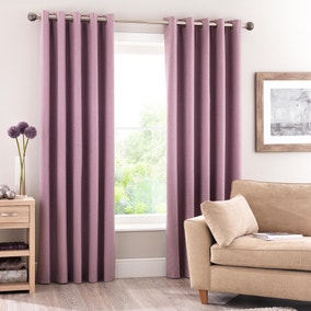 Luna Mauve Blackout Eyelet Curtains