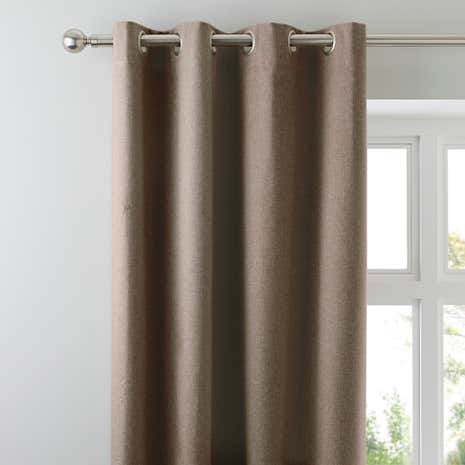 Luna Mocha Blackout Eyelet Curtains