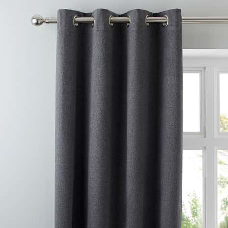 Luna Grey Blackout Eyelet Curtains Dunelm