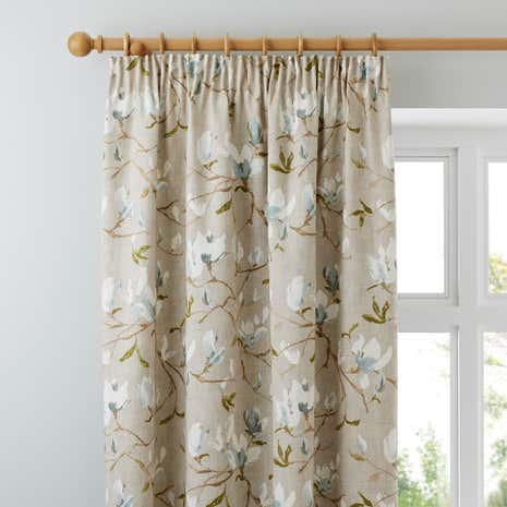 Magnolia Green Lined Pencil Pleat Curtains