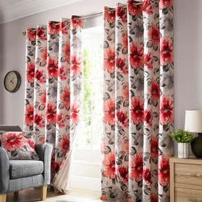 Mia Red Lined Eyelet Curtains