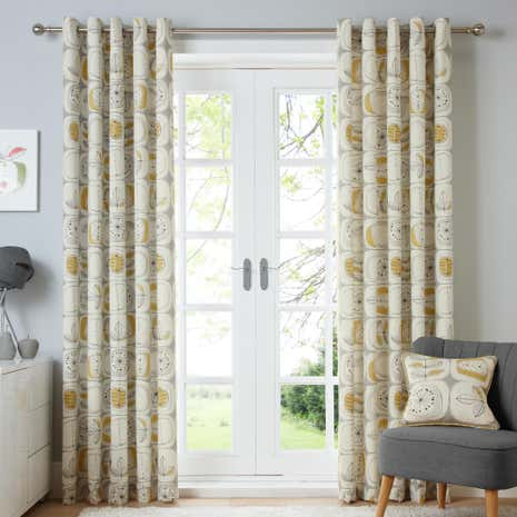 Modern Nature Ochre Lined Eyelet Curtains