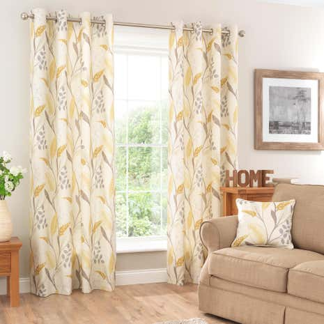 Oakham Ochre Lined Eyelet Curtains