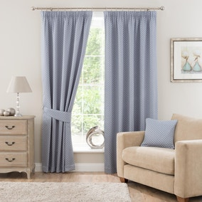 Omega Blue Lined Pencil Pleat Curtains