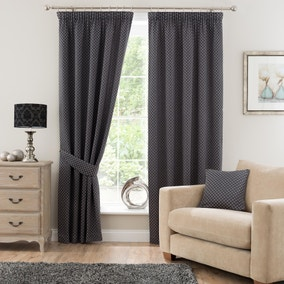 Omega Charcoal Lined Pencil Pleat Curtains