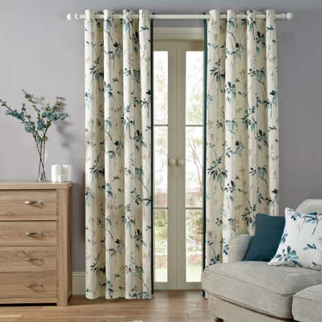 Oriental Burst Teal Lined Eyelet Curtains
