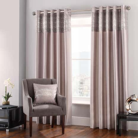 Rene Mink Lined Eyelet Curtains