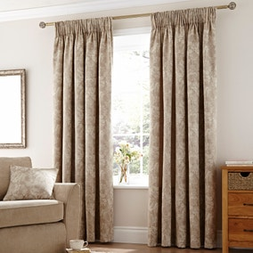 Rose Natural Lined Pencil Pleat Curtains