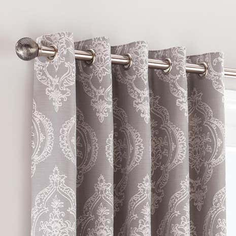 Seraphina Grey Lined Eyelet Curtains