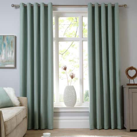 Perfect Shimmer Seafoam Lined Eyelet Curtains