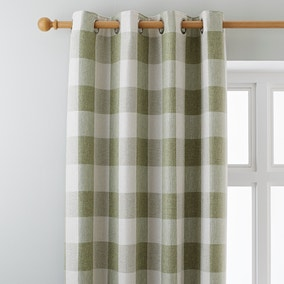 Skye Green Lined Eyelet Curtains