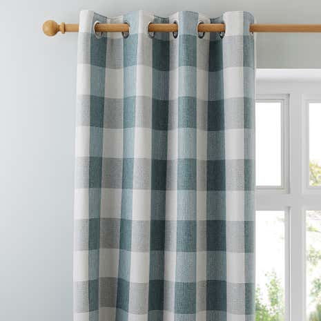 Skye Teal Lined Eyelet Curtains