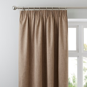 Solar Latte Blackout Pencil Pleat Curtains