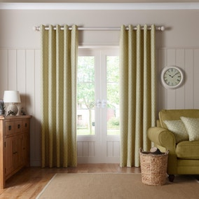 Trellis Green Lined Eyelet Curtains