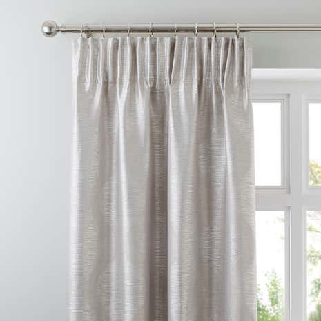 Valentina Silver Lined Pencil Pleat Curtains