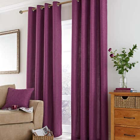 Vermont Berry Lined Eyelet Curtains
