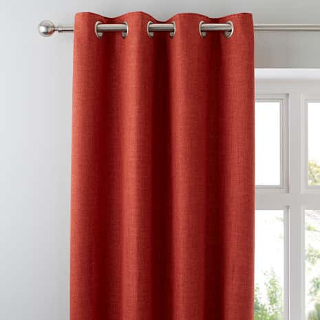 Vermont Orange Lined Eyelet Curtains