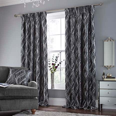 Victoria Charcoal Lined Pencil Pleat Curtains