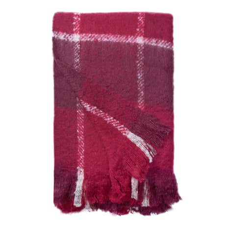 Check Faux Mohair Purple Throw
