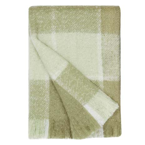 Checked Faux Mohair Green Throw