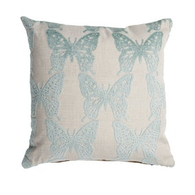 Cut Velvet Blue Butterfly Cushion