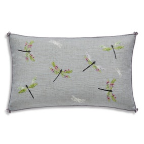 Embroidered Dragonfly Cushion