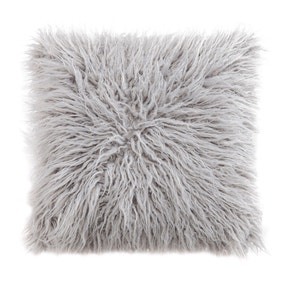Mongolian Grey Faux Fur Cushion