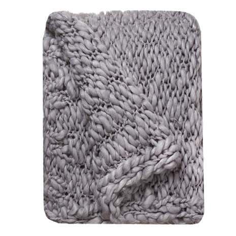 Paignton Hand Knitted Charcoal Throw