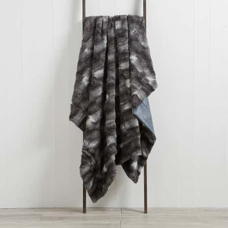 Plush Fur Black Throw