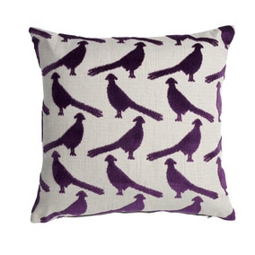 Velvet Purple Pheasant Cushion