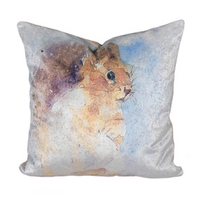 Watercolour Velvet Squirrel Cushion